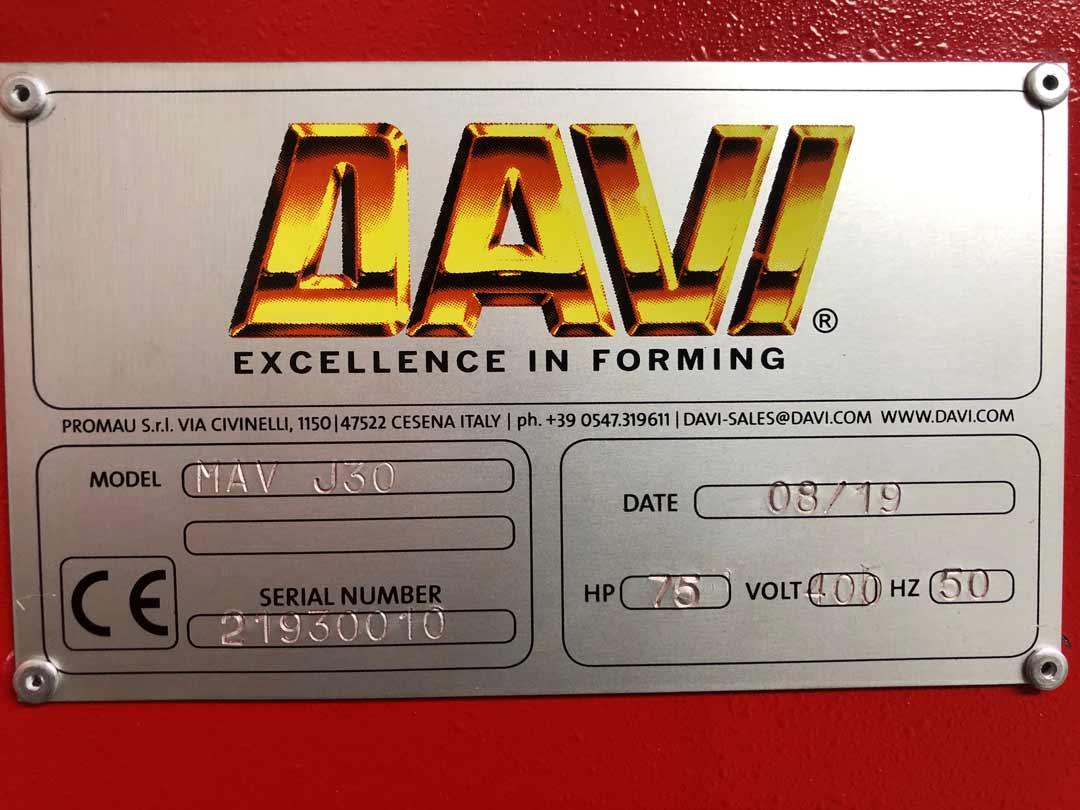 DAVI MAV J30 3-Walzen-Rundbiegemaschine Typenschild