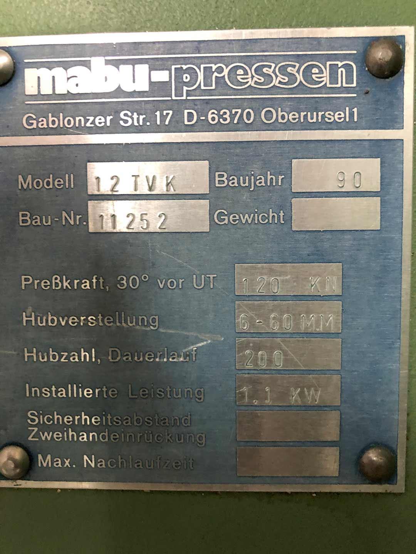 MABU C-Gestellpresse 12 TVK mechanisch Typenschild