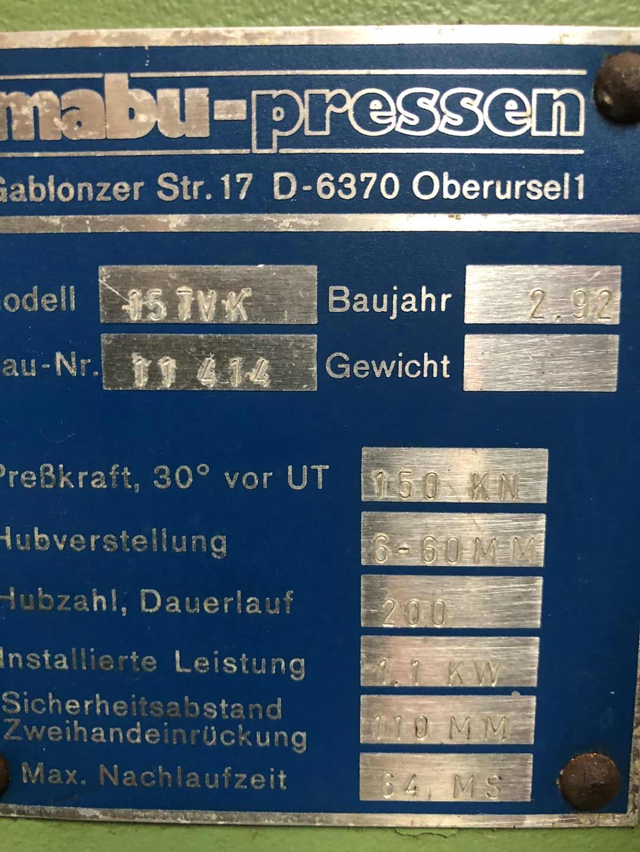 MABU 15 TVK mechanische C-Gestellpresse