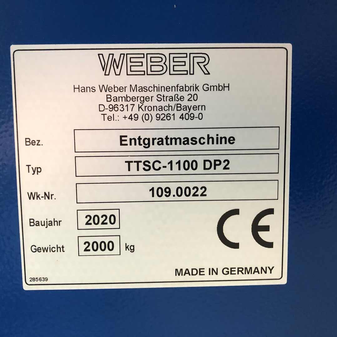 WEBER TTSC 1100 Entgratschleifanlage Typenschild